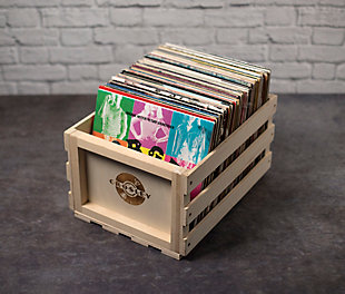 Crosley Record Storage Crate, Natural, rollover