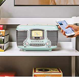 Crosley Corsair Radio CD Player, Aqua Blue, rollover