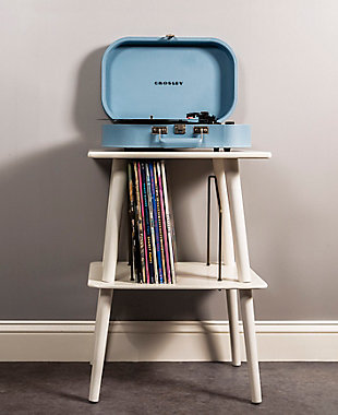 Crosley Manchester Turntable Stand, White, rollover