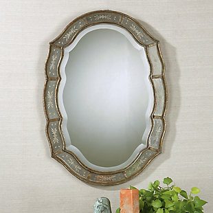 Uttermost Fifi Etched Antique Gold Mirror, , rollover