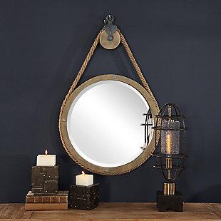 Uttermost Melton Round Pulley Mirror, , rollover