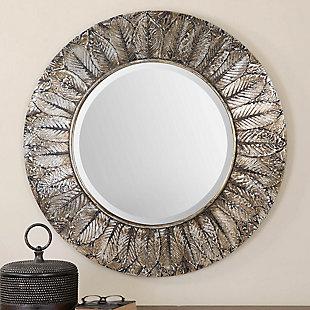 Uttermost Foliage Round Silver Leaf Mirror, , rollover