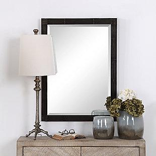 Uttermost Gower Aged Black Vanity Mirror, , rollover