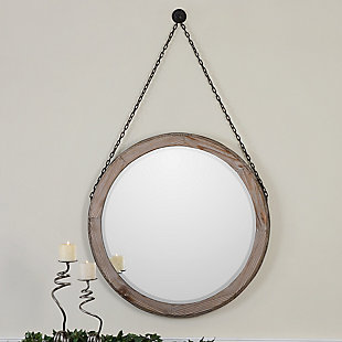 Uttermost Loughlin Round Wood Mirror, , rollover