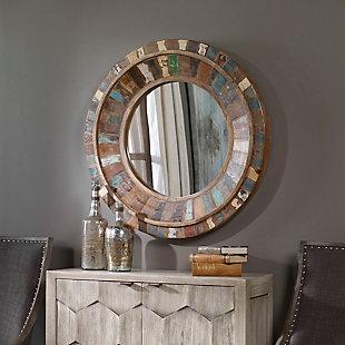 Uttermost Jeremiah Round Wood Mirror, , rollover