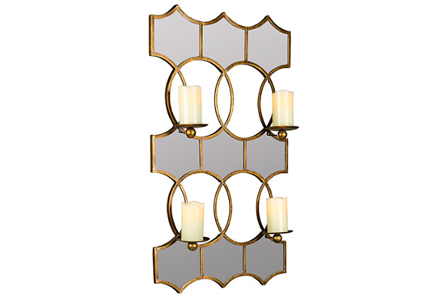 Home Accents Lia Mirrored Candle Holder, , large