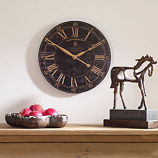 "Uttermost Bond Street 18"" Black Wall Clock, , rollover"