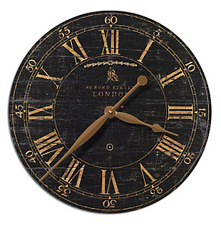"Uttermost Bond Street 18"" Black Wall Clock, , large"