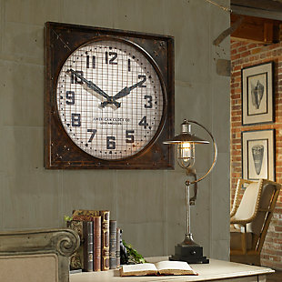 Uttermost Warehouse Wall Clock W/ Grill, , rollover
