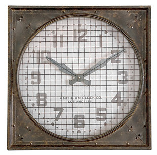 Uttermost Warehouse Wall Clock W/ Grill, , large