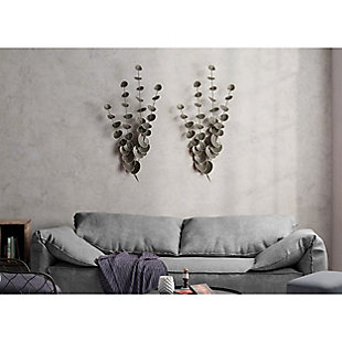 Gild Design House Strands of Eucalyptus Metal Wall Decor (Set of 2), , rollover