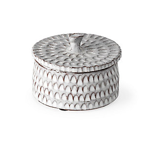 Azul Small Gray Ceramic Detailed Decorative Box, , large