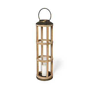 Andy I Large Natural Wood Cylindrical Lantern, , large