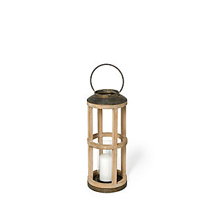Andy II Small Natural Wood Cylindrical Lantern, , large