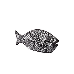 Bubbles I Small Gray Ceramic Coastal Fish, , large