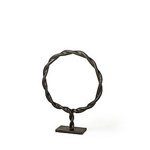 Rizwan Small Black Aluminum Braided Circular Object, , large