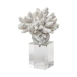 Isla Small White Replica Resin Coral On Clear White Glass, , large