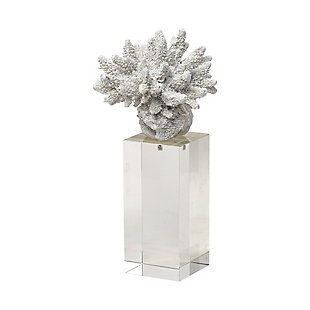 Isla Large White Replica Resin Coral On Clear White Glass, , large