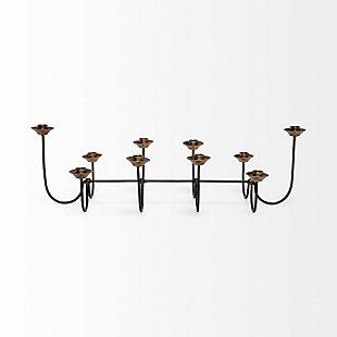 Decem Black/Gold Metal Ten Table Candle Holder, , large