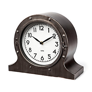 Camden Gray Distressed Metal Porthole Table Clock, , large