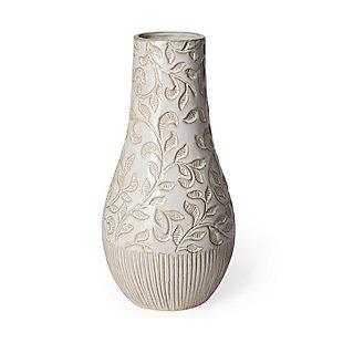 Jadiza III Large White Glaze Floral Patterned Ceramic Vase, , large