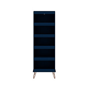 Manhattan Comfort Rockefeller Shoe Storage Rack, Blue, large