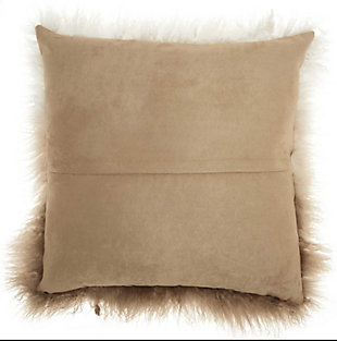 Modern Ombre Tibetan Lamb Fur Couture Pillow, Ivory/Beige, large