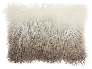 Modern Ombre Tibetan Lamb Fur Couture Pillow, Charcoal/White, large