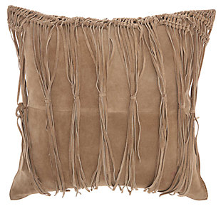 Modern Macrame Fring Tassel Couture Pillow, Beige, large