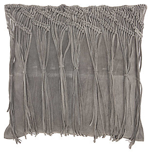 Modern Macrame Fring Tassel Couture Pillow, Ash Gray, large