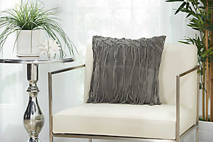Modern Macrame Fring Tassel Couture Pillow, Ash Gray, rollover