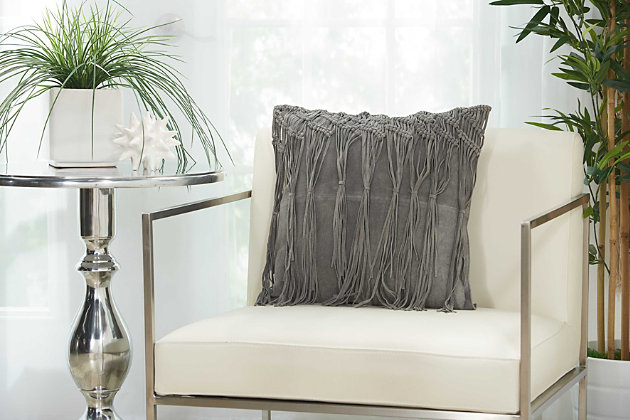 Modern Macrame Fring Tassel Couture Pillow, Ash Gray, large