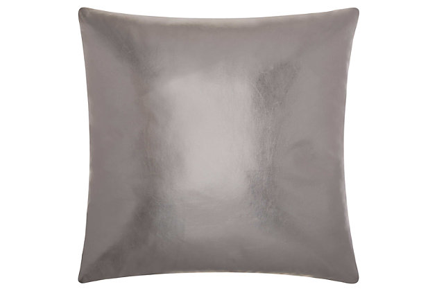 Modern Metallic Leather Couture Pillow, , large