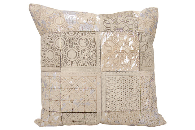 Modern Laser Cut Tiles Couture Pillow, Ivory/Silver, large