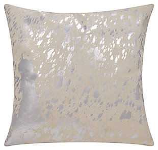 Modern Metallic Splash Couture Pillow, Ivory/Silver, large