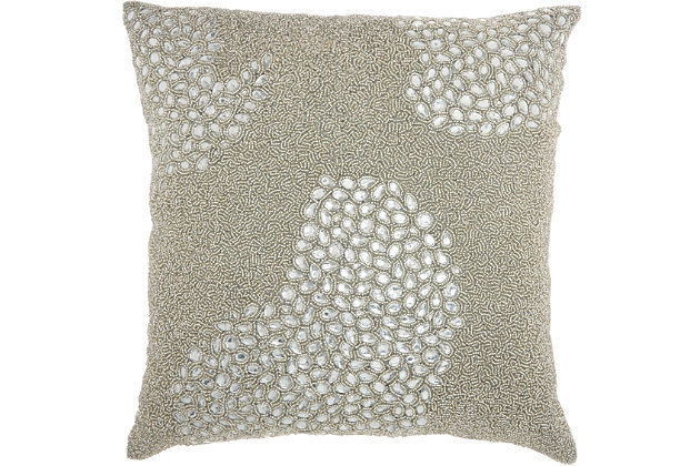 Modern All Over Beaded Couture Luster Pillow, , large