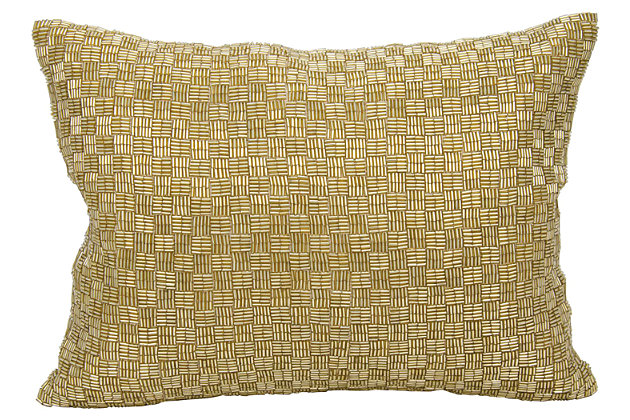 Modern Woven Luster Couture Pillow, Gold, large