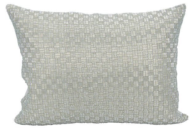 Modern Woven Luster Couture Pillow, Silver, large