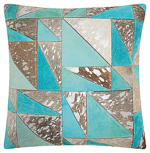 Modern Turquoise Triangle Pillow, , large