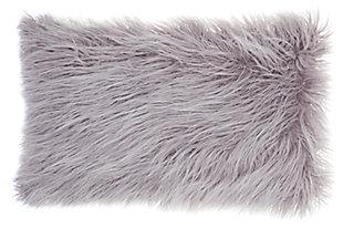 Modern Faux Tibetan Lamb Fur Pillow, Lavender, large