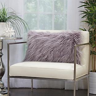 Modern Faux Tibetan Lamb Fur Pillow, Lavender, rollover
