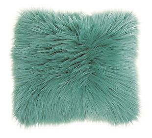 Modern Remen Poly Faux Fur Pillow, Celadon, rollover
