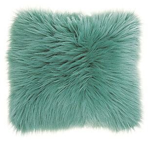 Modern Remen Poly Faux Fur Pillow, Celadon, large