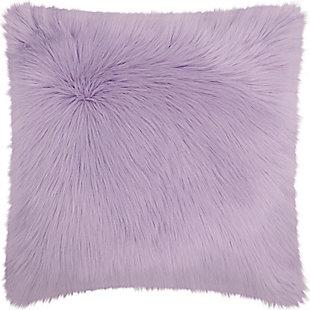 Modern Remen Poly Faux Fur Pillow, Lavender, rollover