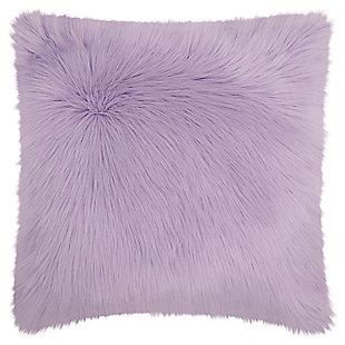 Modern Remen Poly Faux Fur Pillow, Lavender, large