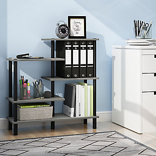 Furinno Turn-N-Tube 5-Tier Accent Display Rack, French Oak Gray/Black, rollover