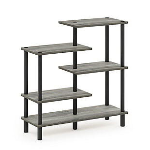 Furinno Turn-N-Tube 5-Tier Accent Display Rack, French Oak Gray/Black, large