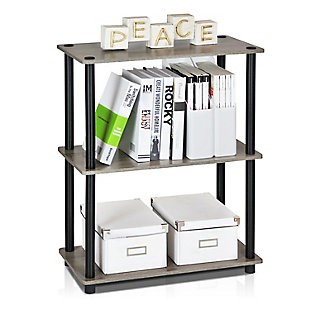 Furinno Turn-N-Tube 3-Tier Compact Multipurpose Shelf Display Rack, French Oak Gray/Black, rollover