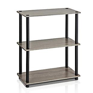 Furinno Turn-N-Tube 3-Tier Compact Multipurpose Shelf Display Rack, French Oak Gray/Black, large