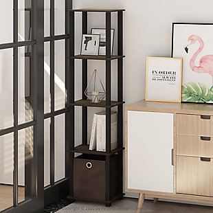 Furinno Turn-N-Tube No Tools 5-Tier Display Decorative Shelf, Walnut/Black/Dark Brown, rollover
